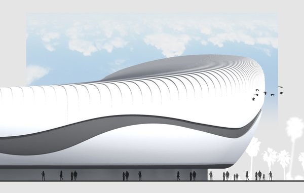 3 days were the time limitation for creating 3 different designs for the stadium, residing at the seaside. Location strongly inspired aesthetics. 1] Exterior is covered by sleek round forms, clearly resembling shells. Outer layer is slit horizontally in the middle, making room for the hallway. 2] Large colorful structures, folding up into angular shapes, were inspired by paper ship. 3] Minimalistic, smooth, wave-like shape flows around the arena. The first floor and the mid section is occupied by shops. Natural light penetrates the structure through the large grooves, gliding horizontally throughout the middle area. \ Models were submitted to the design competition and 3 distinct creative approaches to the project were offered in order to satisfy wide range of aesthetic appetites.  Photo  of Batumi Arena modern home