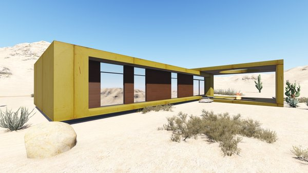The desert loft resident is involved in off-road activities and required a place, which would sustain its appearance through sandstorms and extensive heat. The massive metal structure elegantly sits in the harsh environment.  The entrance door, secluded behind the thick metal screen, leads to the largest area of the house, unifying the kitchen, the dining room and the living room. The hall connects to three bedrooms and the bathroom.  The dining room exits to the terrace with the fireplace, carved in the floor. the ceiling is hollowed out right above it, following the lines of the round cut out in the floor. The gap's presence is almost poetic, as if it's the only passage transferring the smoke to the sky.  Photo 7 of Warmhole modern home