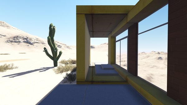 The desert loft resident is involved in off-road activities and required a place, which would sustain its appearance through sandstorms and extensive heat. The massive metal structure elegantly sits in the harsh environment.  The entrance door, secluded behind the thick metal screen, leads to the largest area of the house, unifying the kitchen, the dining room and the living room. The hall connects to three bedrooms and the bathroom.  The dining room exits to the terrace with the fireplace, carved in the floor. the ceiling is hollowed out right above it, following the lines of the round cut out in the floor. The gap's presence is almost poetic, as if it's the only passage transferring the smoke to the sky.  Photo 3 of Warmhole modern home