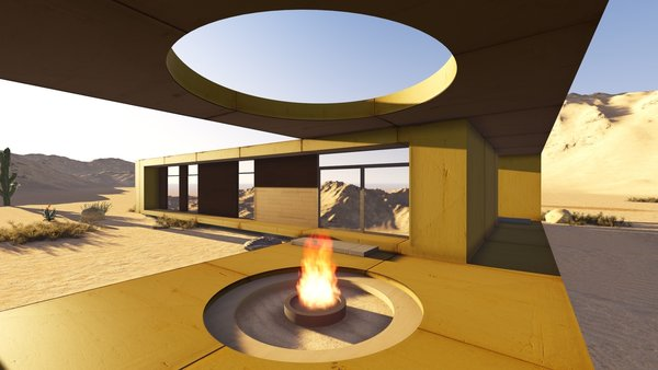 The desert loft resident is involved in off-road activities and required a place, which would sustain its appearance through sandstorms and extensive heat. The massive metal structure elegantly sits in the harsh environment.  The entrance door, secluded behind the thick metal screen, leads to the largest area of the house, unifying the kitchen, the dining room and the living room. The hall connects to three bedrooms and the bathroom.  The dining room exits to the terrace with the fireplace, carved in the floor. the ceiling is hollowed out right above it, following the lines of the round cut out in the floor. The gap's presence is almost poetic, as if it's the only passage transferring the smoke to the sky.  Photo 2 of Warmhole modern home
