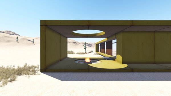 The desert loft resident is involved in off-road activities and required a place, which would sustain its appearance through sandstorms and extensive heat. The massive metal structure elegantly sits in the harsh environment.  The entrance door, secluded behind the thick metal screen, leads to the largest area of the house, unifying the kitchen, the dining room and the living room. The hall connects to three bedrooms and the bathroom.  The dining room exits to the terrace with the fireplace, carved in the floor. the ceiling is hollowed out right above it, following the lines of the round cut out in the floor. The gap's presence is almost poetic, as if it's the only passage transferring the smoke to the sky.  Photo 5 of Warmhole modern home