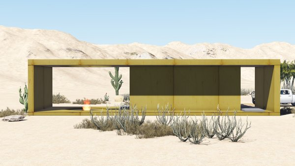 The desert loft resident is involved in off-road activities and required a place, which would sustain its appearance through sandstorms and extensive heat. The massive metal structure elegantly sits in the harsh environment.  The entrance door, secluded behind the thick metal screen, leads to the largest area of the house, unifying the kitchen, the dining room and the living room. The hall connects to three bedrooms and the bathroom.  The dining room exits to the terrace with the fireplace, carved in the floor. the ceiling is hollowed out right above it, following the lines of the round cut out in the floor. The gap's presence is almost poetic, as if it's the only passage transferring the smoke to the sky.  Photo 6 of Warmhole modern home