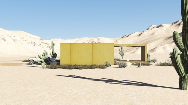 The desert loft resident is involved in off-road activities and required a place, which would sustain its appearance through sandstorms and extensive heat. The massive metal structure elegantly sits in the harsh environment.  The entrance door, secluded behind the thick metal screen, leads to the largest area of the house, unifying the kitchen, the dining room and the living room. The hall connects to three bedrooms and the bathroom.  The dining room exits to the terrace with the fireplace, carved in the floor. the ceiling is hollowed out right above it, following the lines of the round cut out in the floor. The gap's presence is almost poetic, as if it's the only passage transferring the smoke to the sky.  Photo 4 of Warmhole modern home
