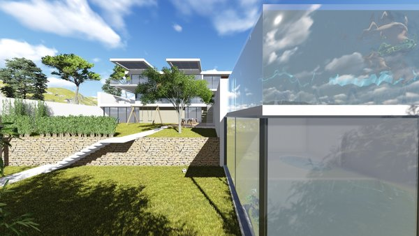 The hillside house for a large family is gracefully flattened out on the landscape. The facade is simultaneously minimalistic and massive, marking the building's modest and strong presence in nature. The multilayered open space in the backside of the house brings an inevitable sense of unexpectedness. The terraces in the garden with lounge areas and The playground carry a cosy vibe.  The pool breaks up the front area into the basketball court and the space for relaxation.  To enhance the idea of the residents being guests to the nature and are also part of it, the entire house is blessed with a mountain view.  Photo 7 of Shifter modern home
