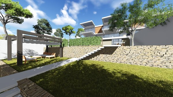 The hillside house for a large family is gracefully flattened out on the landscape. The facade is simultaneously minimalistic and massive, marking the building's modest and strong presence in nature. The multilayered open space in the backside of the house brings an inevitable sense of unexpectedness. The terraces in the garden with lounge areas and The playground carry a cosy vibe.  The pool breaks up the front area into the basketball court and the space for relaxation.  To enhance the idea of the residents being guests to the nature and are also part of it, the entire house is blessed with a mountain view.  Photo 10 of Shifter modern home
