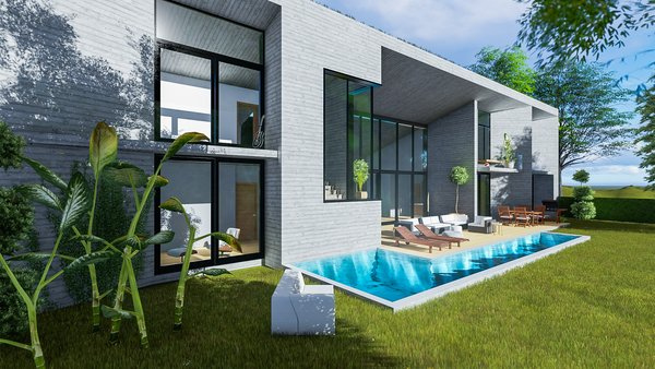 Modern home with outdoor, trees, gardens, grass, front yard, swimming pool, large patio, porch, deck, vertical fence, and landscape lighting. Photo 3 of Camolair