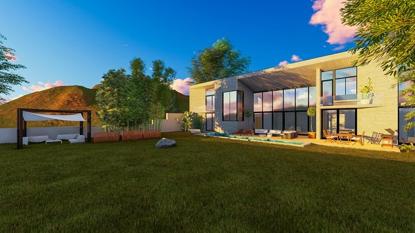 Modern home with outdoor, swimming pool, large patio, porch, deck, grass, trees, and vertical fence. Photo 9 of Camolair