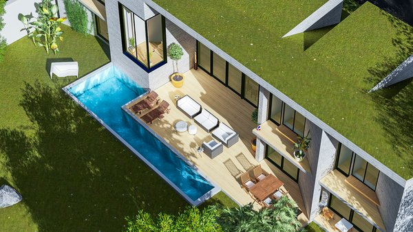 Modern home with outdoor, front yard, trees, slope, rooftop, grass, swimming pool, vertical fence, large patio, porch, deck, and landscape lighting. Photo 6 of Camolair
