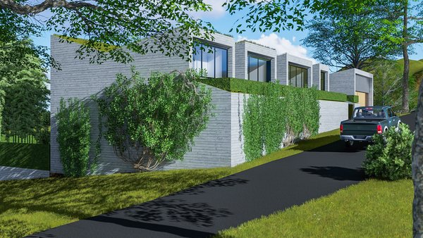 Modern home with outdoor, landscape lighting, trees, and vertical fence. Photo 7 of Camolair