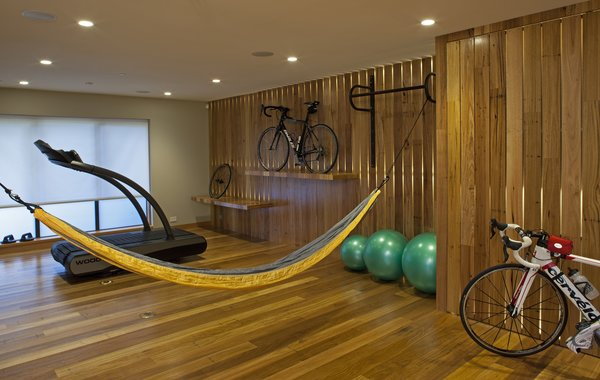New home gym in basement dig-out addition Photo 3 of California Contemporary Home modern home