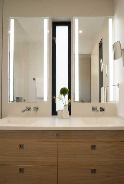 Bathroom vanity with integral Corian counter and sinks Photo 10 of Beverley Master Bedroom Suite Addition modern home