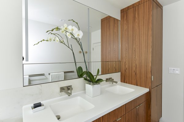 Double vanity and linen cabinet Photo 2 of Contemporary Master Bathroom Remodel modern home