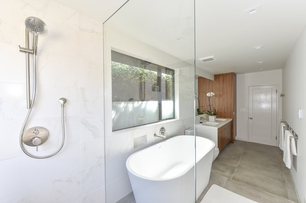 Walk-in shower with fixed glass  Photo 4 of Contemporary Master Bathroom Remodel modern home