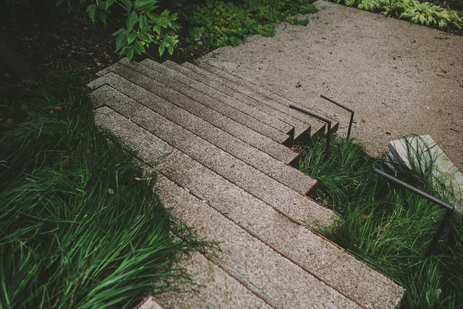 Steel stairs flowing through native grasses