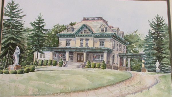 Painting of the 1909 TS Lackey House Photo  of T.S. Lackey House - The  future Dragonfly Bed & Breakfast modern home