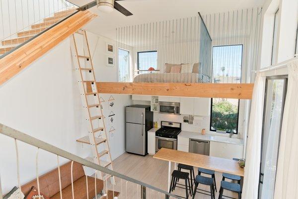 Living Room, Kitchen/Dining and Sleeping Loft Photo 10 of Prefab Modern Coastal in San Diego modern home