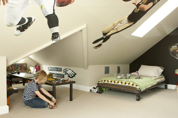 Modern home with bed, carpet floor, kids room, pre-teen age, boy gender, and bedroom. Boys Bedroom with Lego Table Nook and Steam punk bed Photo 6 of Bigelow Residence