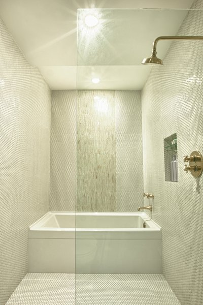 Modern home with bath room, ceramic tile floor, alcove tub, open shower, ceramic tile wall, and ceiling lighting. Master Shower and Wetroom Photo 4 of Bigelow Residence