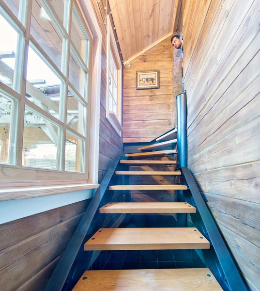Modern home with staircase, metal tread, wood tread, and metal railing. Metall srair Photo 18 of The Vitaliy's house