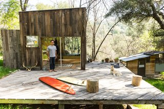 "10 Superb Surf Shacks - Photo 4 of 10 - Mason St. Peter and Serena Mitnik-Miller's cabin hideaway perched in a hillside of Topanga Canyon completely defines the term ""surf shack"" in our eyes. The creative architect-artist duo—who own the carefully curated General Store with locations in San Francisco and Venice—naturally created the stylish space of our dreams."