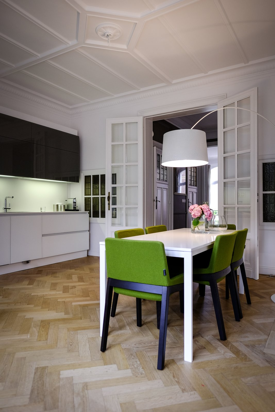 The dining room and open kitchen