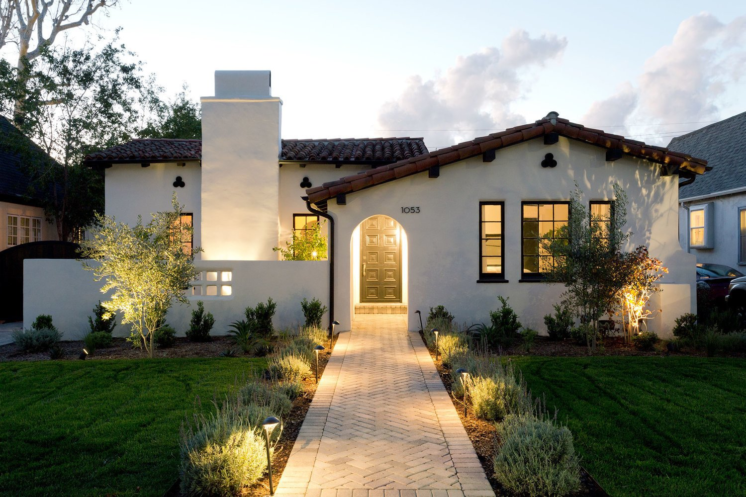 Tagged: Outdoor, Front Yard, Shrubs, Walkways, Grass, Landscape Lighting, and Small Patio, Porch, Deck.  Stearns Residence by Jette Creative