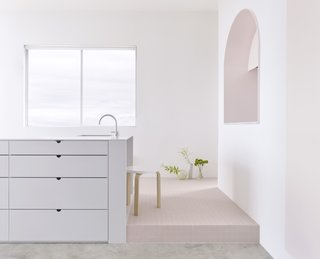 The Pantone Choice: Top 10 Colors for Spring 2017 - Photo 3 of 20 - Elements:<br>Grey corian bench, Japanese industrial tile plinth and pink 2-Pac door and reveal<br><br>Photo: Haydn Cattach