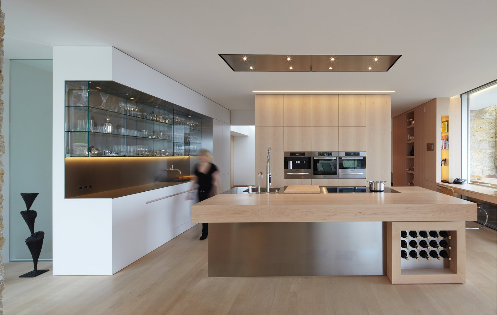 Tagged: Kitchen, Metal Counter, Wood Counter, and White Cabinet.  House S by Stephan Maria Lang