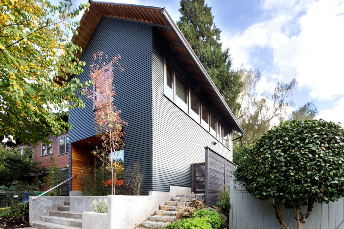 Taking it's cues from the traditional homes in the neighborhood, this Portland, Oregon ADU features a deep entry facing the street which serves as a modern interpretation of a front porch. 8 Modern In-Law Units - Photo 11 of 16