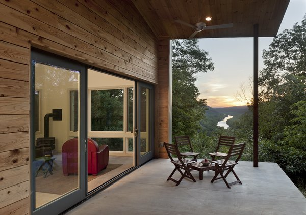 view from the porch to the Potomac River at dusk Photo 5 of Ridge House modern home
