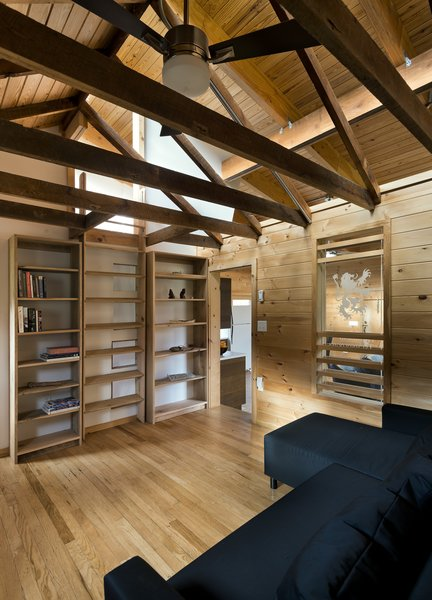 library with loft ladder retracted Photo 11 of Highland House modern home