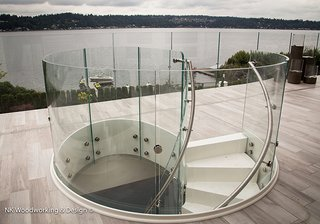 """White Chocolate Spiral Stair"" - Photo 1 of 1 - Reflecting the cool grays of the Pacific NW</p><p><br>"