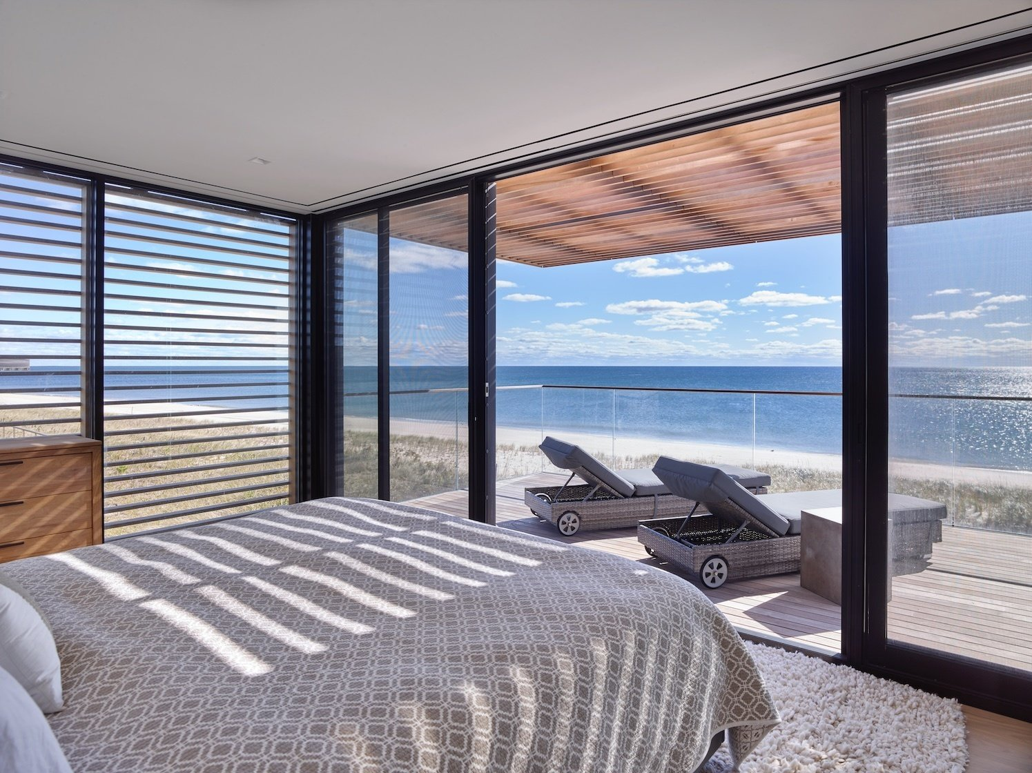 Master Bedroom  House On The Point by Stelle Lomont Rouhani Architects