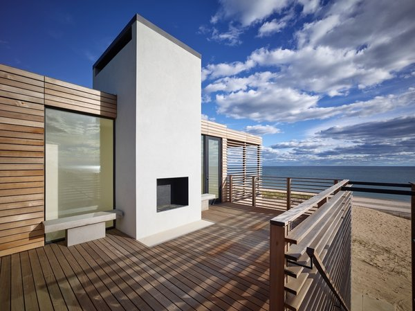 Upper deck with fireplace Photo 7 of House On The Point modern home
