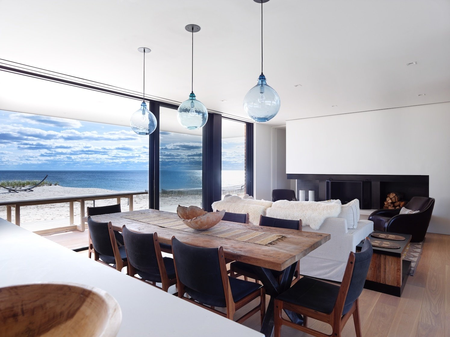 Dining and living room overlooking ocean