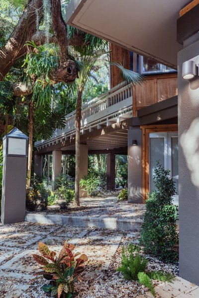 The house at Camp Biscayne [Tree House] is nestled in a tropical hardwood Hammock, surrounded by large mature live oaks and saw palmettos. Photo 2 of The Tree House modern home