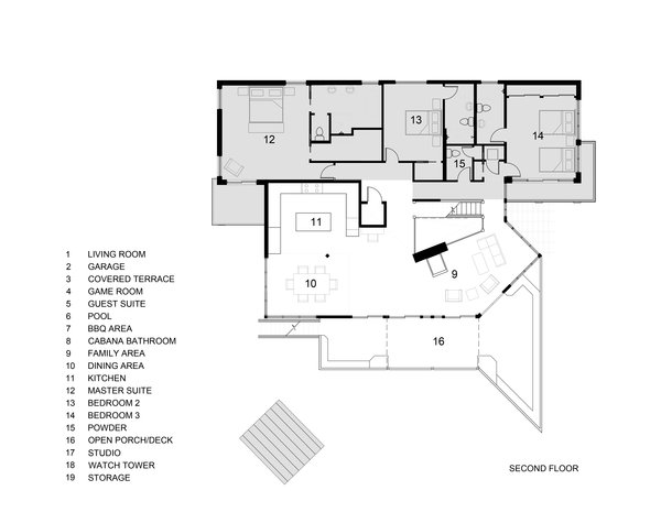 Second  Floor Plan , Grey areas by Sow Design Studio Photo 10 of The Tree House modern home