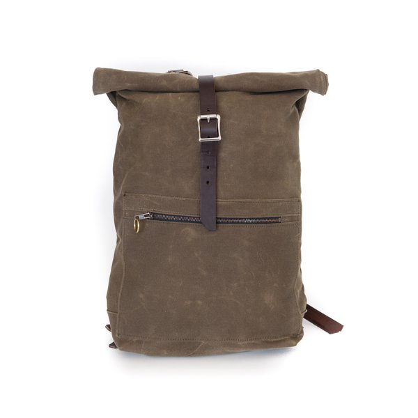 Waxed Canvas Roll Top Backpack