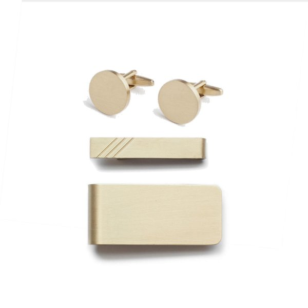 "Brass Cufflinks, Money Clip & Tie Bar ""Dress Set"""