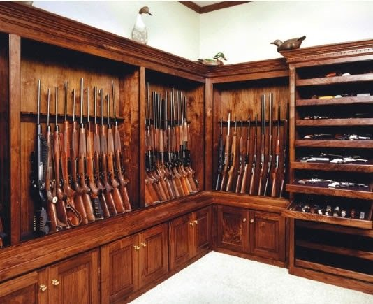 Modern home with storage room and cabinet storage type. https://gunnewsdaily.com/choosing-rifle-scope/ Photo 2 of Homemade Wooden Gun Storage for Rifles