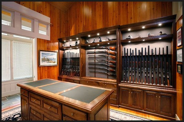 Modern home with storage room and cabinet storage type. https://gunnewsdaily.com/choosing-rifle-scope/ Photo 3 of Homemade Wooden Gun Storage for Rifles