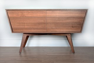 Modern Cred. - Photo 3 of 3 - If we may boast, this takes the cake as the favorite product that we produce.<br><br>Intriguing angles, clean lines, gorgeous materials.   Designed and built in Seattle by CornerMade, this modern take on a credenza is made from 100% domestic wood with real walnut facing and solid walnut legs.