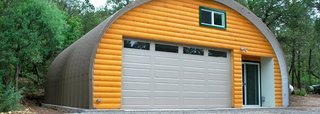 10 Prefab Garage Solutions For Auto Enthusiasts - Photo 2 of 10 - SteelMaster can supply this colorful addition to your property to be a workshop or garage for all types of hobby enthusiasts, including woodworkers, metal shop owners, and classic car professionals.