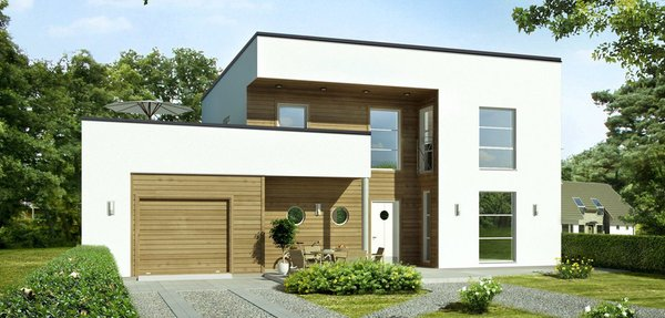 """The """"Marie"""" model by Scandinavian Homes brings modern with shades of Art Deco in two-story, 3/4-bedroom, timber-framed, self-build homes. At the front of the house is a well-lit breakfast kitchen, with a separate dining area. To the left of the front door is a pair of porthole windows that provide natural light to a cloakroom and shower room. At the rear of the house is a living room with several large windows and a door to the garden—and a study off to one side. The integral garage has a door to a workshop/store at the rear, and a side door into the utility room."""