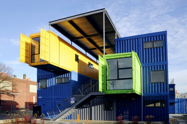 So, technically it's not an island, nor is this a home, but we couldn't resist including this Rhode Island-based office/studio space constructed from 32 recycled shipping containers on an abandoned strip of Providence history—the former Harris Lumber site. This three-story, 12,000-square-foot complex, which sits  in a post-industrial section of Providence, is the largest office building in the United States made exclusively of cargo containers and was designed by truth box, inc.