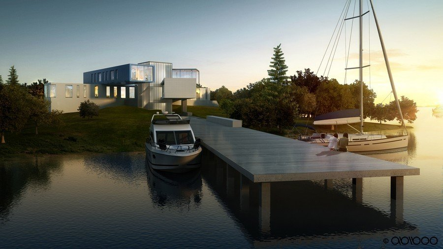 This 17,000 sq. ft. (1.600 m2) villa by Abiboo is located in the South-Hamptons with the sea surrounding the plot on two 2 sides. The family's passion for boating inspires the integration of the home with the seascape.  Photo 11 of 12 in 10 Beautiful Island-Style Shipping Container Homes from How to Buy a Shipping Container