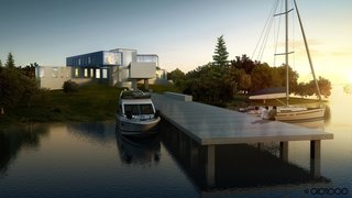 10 Beautiful Island-Style Shipping Container Homes - Photo 10 of 11 - This 17,000-square-foot villa by Abiboo Architects is located in South Hampton, with the sea surrounding the plot on two sides. The family's passion for boating inspires the integration of the home with the seascape.