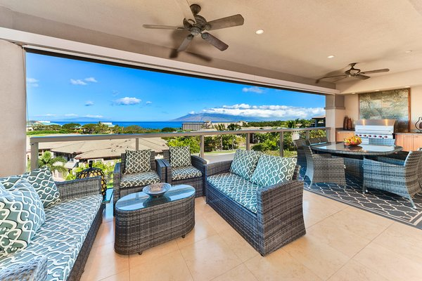 This spectacular three bedroom, three and a half bath, 3,500 square foot, two level home is nestled on the South side of Hoolei, on a very private quiet cul-de-sac bordered by the Wailea Blue Golf Course and a lush green belt slope. As you gaze across the green belt, the view of the deep blue Pacific Ocean view is breathtaking. Between the palms, waves gently break on one of the best beaches in the world.