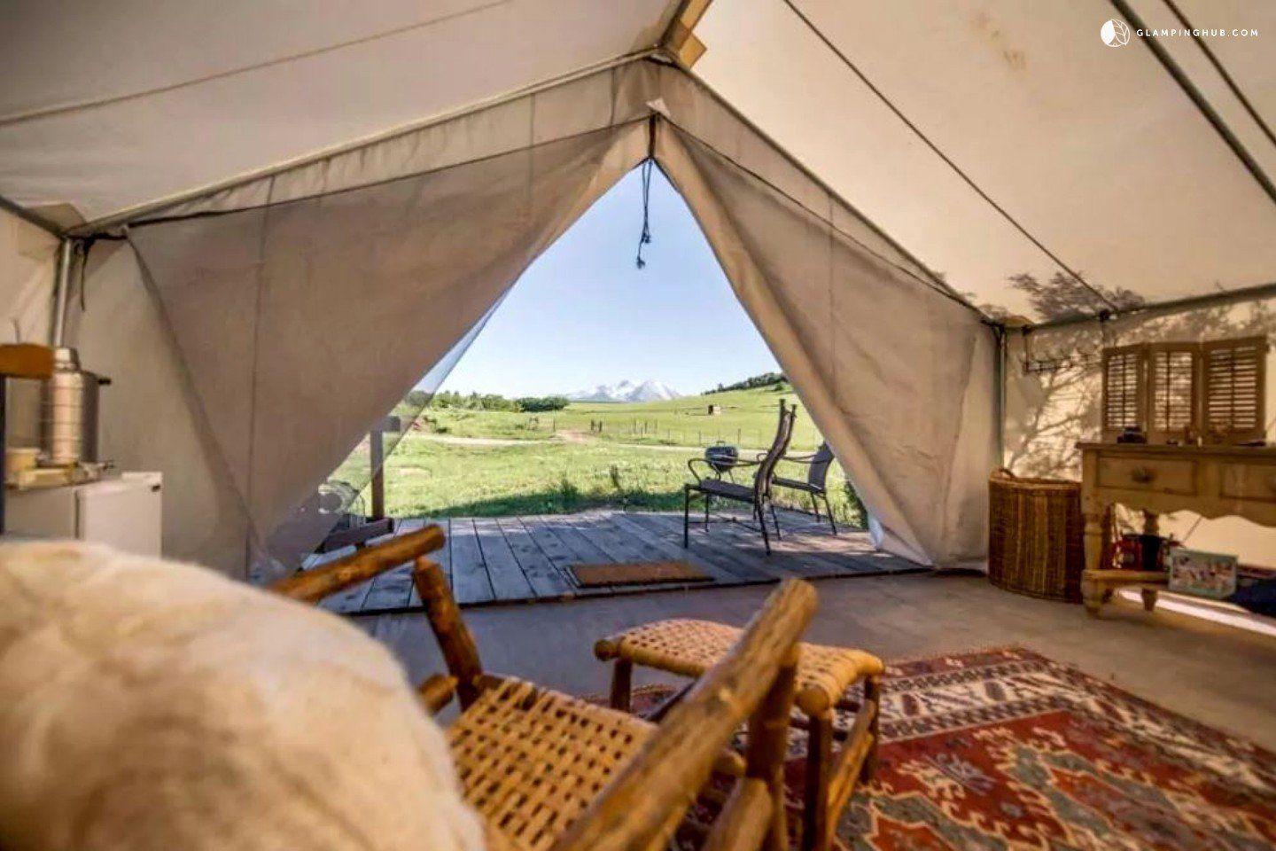 This unique safari tent can be found near White River National Forest, Colorado, and is perfect for a glamping getaway. The tent features a beautiful California king four poster bed that guarantees a peaceful sleep. There is also a deck where guests can enjoy soaking in the beautiful views.  Photo 3 of 14 in 12 Terrifically Glamorous Camping Options