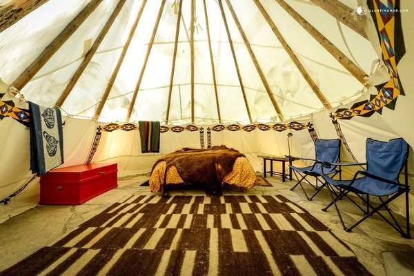 "12 Terrifically Glamorous Camping Options - Photo 12 of 13 - These ""glamorous"" tipis in Oregon have been designed in ""Zen style."" According to Antoine de Saint-Exupéry, ""Perfection is achieved, not when there is nothing more to add, but when there is nothing left to take away."""
